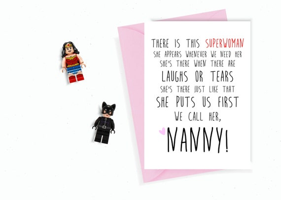 Nanny Superwoman Mum Birthday Card MOTHERS DAY CARD Mom