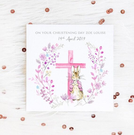 Personalisierte Taufe Karte Peter Hase Karte Taufe Karte Personalisierte Karte Mädchen Taufe Junge Baby Taufe Karte Benennung Tageskarte
