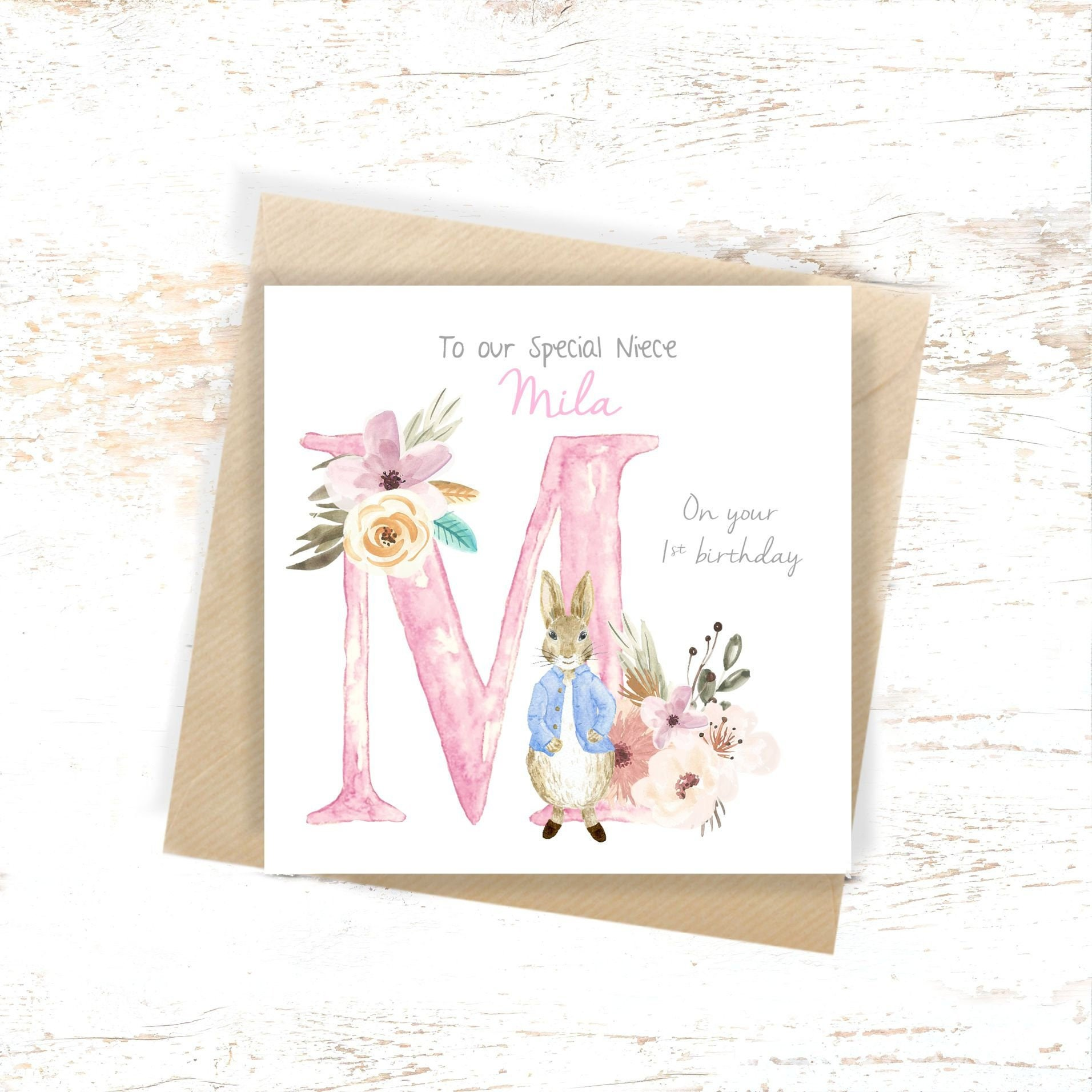 1st Birthday Card Personalised Peter Rabbit 2nd