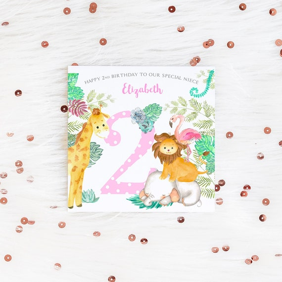 Personalised Elephant /& Giraffe Age Greeting Card New Baby 1st 2nd 3rd Birthday