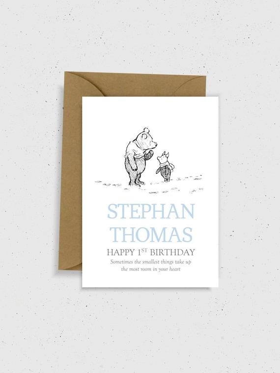 1st Birthday Card Winnie The Pooh Baby