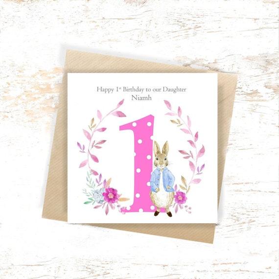 Personalised 1st Birthday Card Peter Rabbit Girls