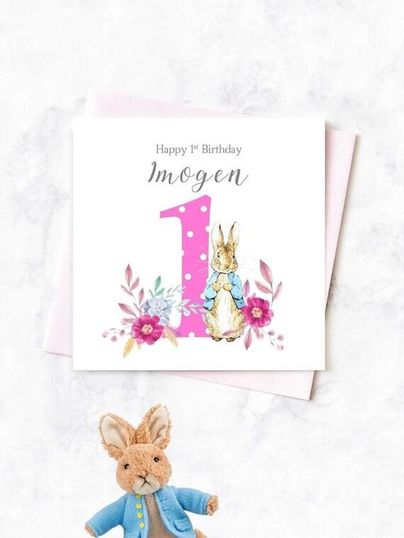 PERSONALISED 1st Birthday Card Peter Rabbit Girls Personalised First Niece Happy Nephew