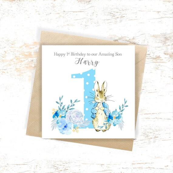 Personalised 1st Birthday Card Peter Rabbit Boys