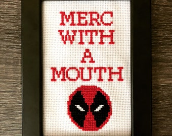 Merc with a mouth deadpool crossstitch