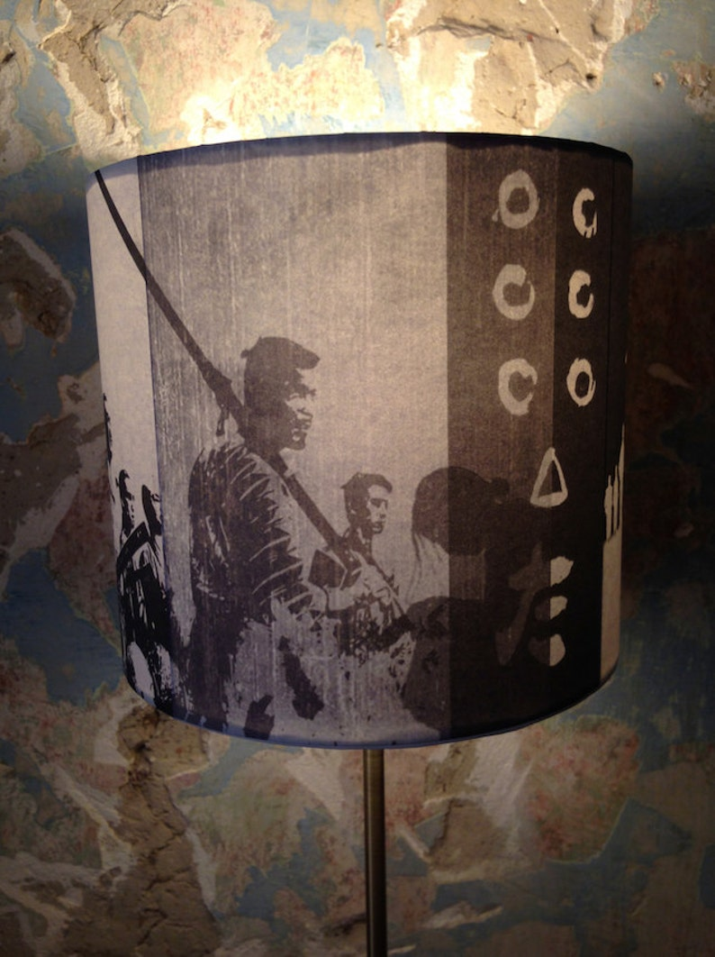 Vintage Japanese Ronin Samurai Movie inspired Lamp Shade 'SEVEN'