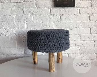 Crochet Grey Round Pouf - Pouf Ottoman - Footstool- Floor Cushion - Nursery Pouf - Floor Pouf - Kidsroom Decor