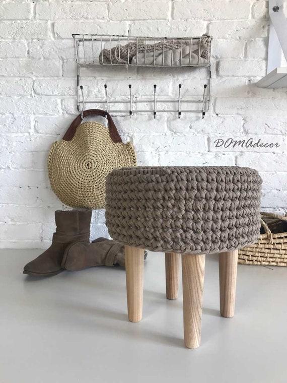 Outstanding Living Room Decor In Scandinavian Style Crochet Grey Round Pouf Andrewgaddart Wooden Chair Designs For Living Room Andrewgaddartcom
