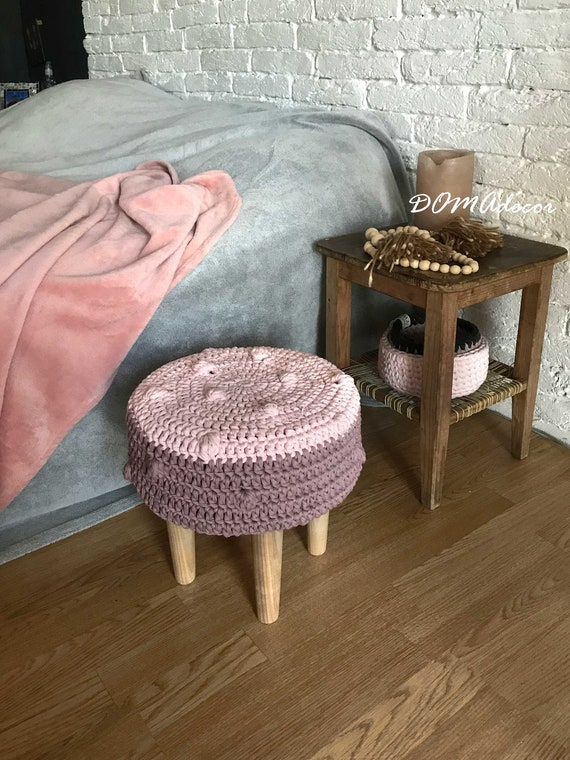 Outstanding Crochet Pink Ottoman Pouf Girls Bedroom Cute Furniture Gmtry Best Dining Table And Chair Ideas Images Gmtryco