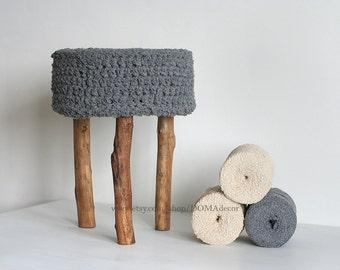 Crochet Grey Round Pouf - Ottoman - Bedside Table -  Nursery Pouf - Nursery Table