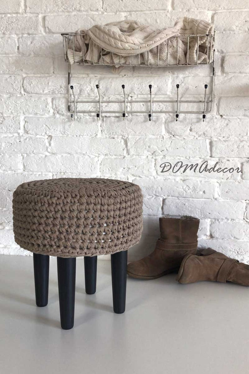Pleasant Crochet Grey Round Pouf Pouf Ottoman Footstool Floor Cushion Nursery Pouf Floor Pouf Livingroom Decor Short Links Chair Design For Home Short Linksinfo