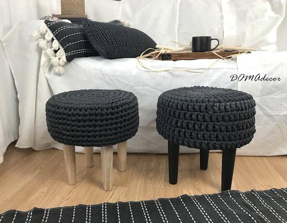 Astonishing Crochet Grey Ottoman Pouf With Wooden Legs Scandinavian Style Furniture Short Links Chair Design For Home Short Linksinfo