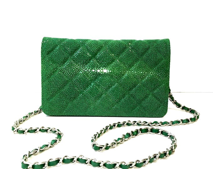 Green galuchat bag