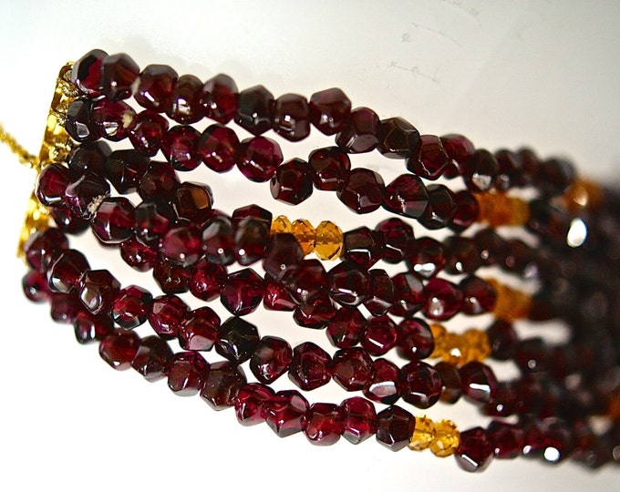 Garnets and citrines necklace