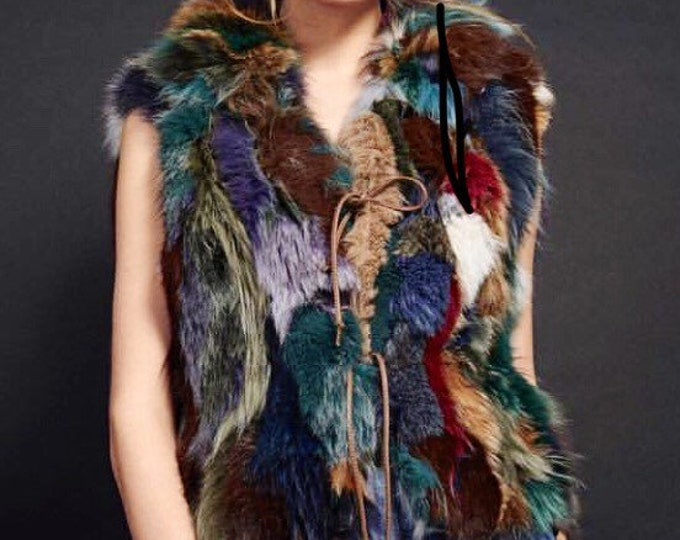Multi-colored fox jacket