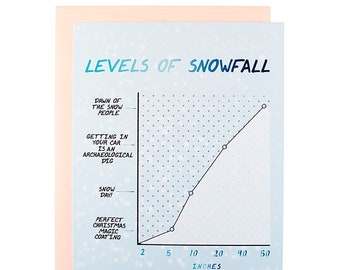 Funny Levels Of Snowfall Christmas Card, Funny Holiday card, clever Christmas card, Christmas 2022, Funny Christmas Card,snow Christmas card