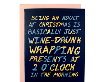 Funny Wrapping Presents Christmas Card, Funny Holiday card, clever Christmas card, Christmas 2022, Funny Christmas Card, Wine Christmas card
