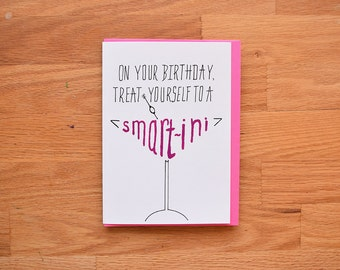 Martini Funny Birthday Card 30th For Best Friend Cute Carddrinking