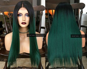 Green Wig Lace Front Teal Wig Long Ombre Straight Turquiose Etsy