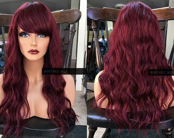Red Wig    Heat SAFE Wine Red Skin Top Part FULL WIG w  Burgundy Cosplay  Bangs   Wavy Curly Ariel Style f120aef528b1