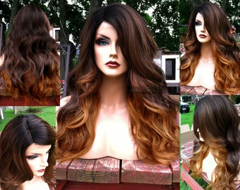 Ombre Lace Front Wig    Auburn Brown BABY HAIR + Heat Safe    LACE Front    Part Long Wavy Wig    Black Dark Roots     AM27 4d0146bb8a40