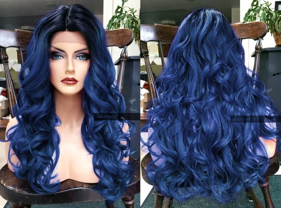 Blue Lace Front Wig Heat Ok Ombre Dark Skin Part Curly