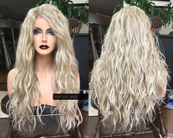 """Lace Front Blonde Wig // Ash Mixed Blond Wavy 24"""" Long Wig W/ Fake Part & Highlights // Curly Beige Natural Wigs For Women Cosplay Chemo by Etsy"""