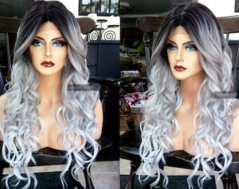 Gray Lace Front Wig // Ombre Silver & Curly // Heat SAFE // Long Grey Wig // Black Dark Roots for Cosplay, Chemo, Everyday // #AY39