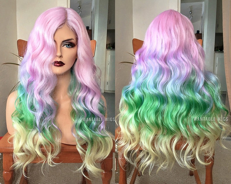 Lolita 24 Long Wavy Mixed Green Women Fashion Cosplay Wig+wig Cap Heat Resistant By Scientific Process Synthetic None-lacewigs