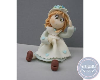 Hand made cake topper / 1st birthady cake topper / Cake topper Princess birthday / Handmade Baptism Cake Topper / Cold porcelain Clay doll
