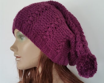 42bc3281 Super Slouch Beanie, Purple Slouch Hat with Pom Pom, Purple Beanie, Cool  Hats for Girls, Winter Accessories, Knitted Hat, Gift for Her