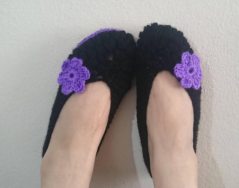 33eda1a52e67b6 Black Crochet Slippers adorned with Purple Flower Non Slip