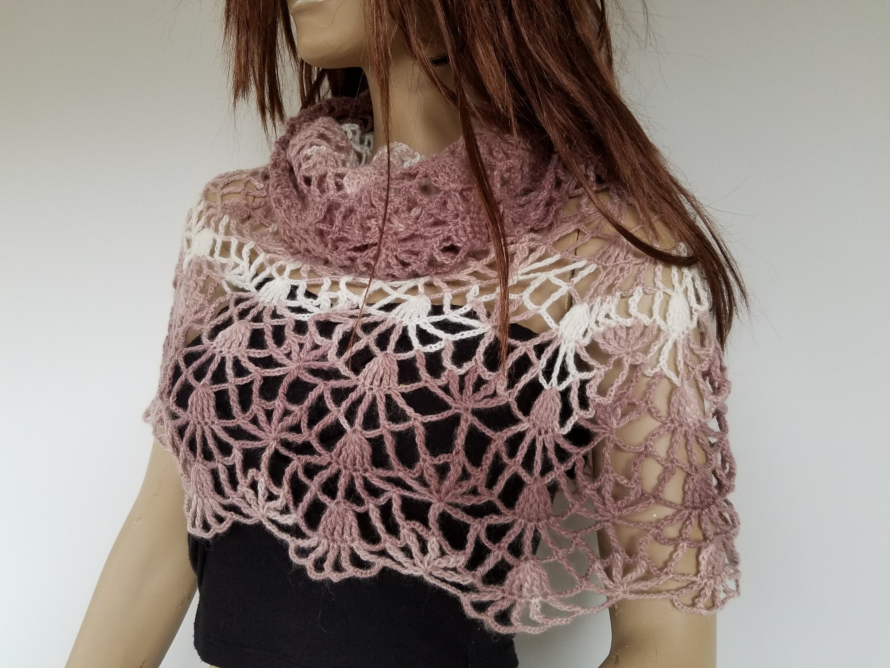 Lace Crochet Shoulder Cover Pink White Crochet Cover Up Cowl Etsy
