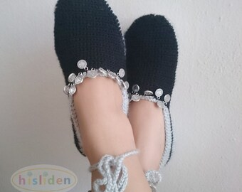 Black & Gray Crochet Slippers Adorned with Coins, For Women Girls Tribal Coin Slippers House Shoes Boho Shoes Indoor Shoe Ballet Shoes