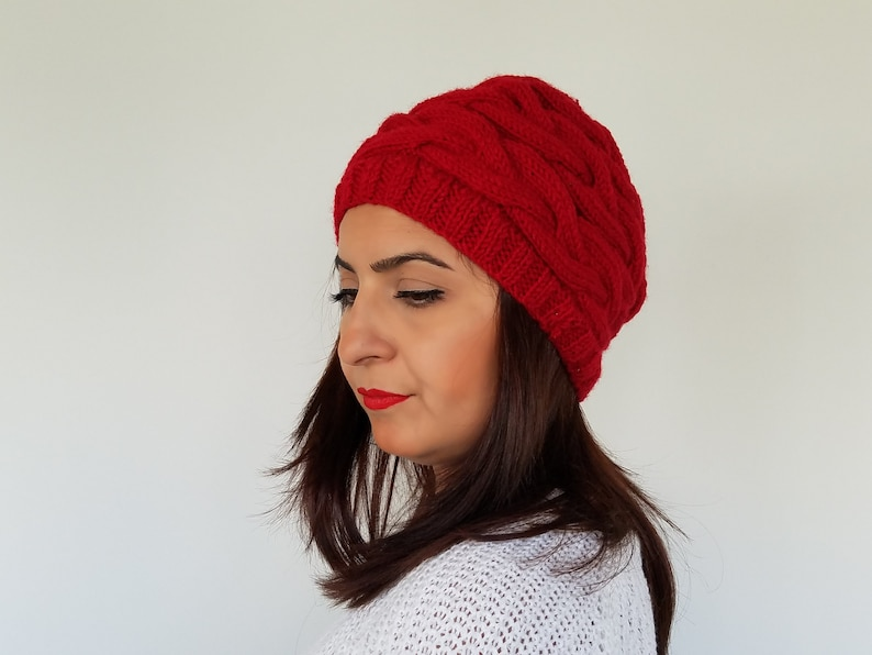 583dde0e213 Red Cable Knit Winter Hat for Women Red Winter Accessories