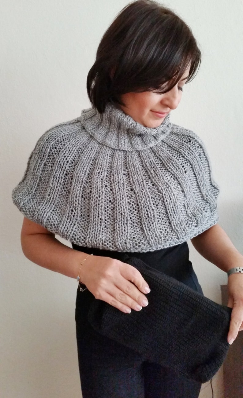 Poncho Women Short Poncho Hand Knit Gray Turtleneck Crop
