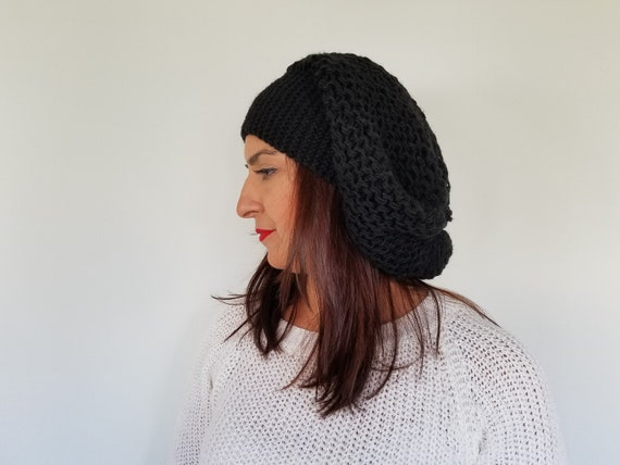 Black Crochet Hat Slouch Hat For Women Chunky Slouchy  107081d15c
