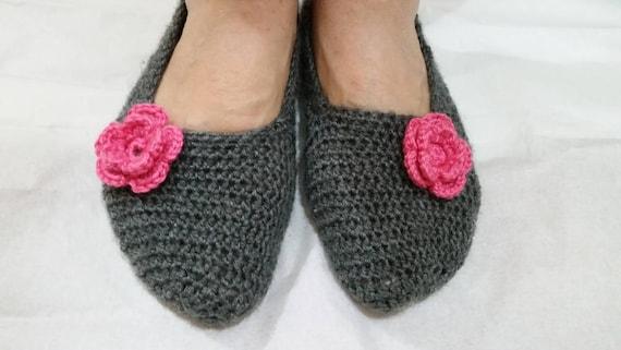 c8fa9c8446432 Dark Gray Crochet Slippers with Pink Flowers, Non Slip soles, Women Gifts,  Handmade