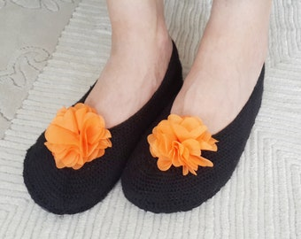 Black Crochet Slippers with Orange Chiffon Flowers - Non Slip Soles, Slipper, Home Shoes, House Shoes, Indoor Shoes, Crochet Footwear, Gift