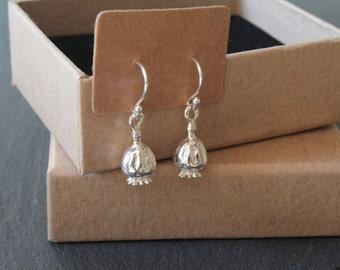 Poppy Seed Pod Drop Earrings (Sterling Silver)