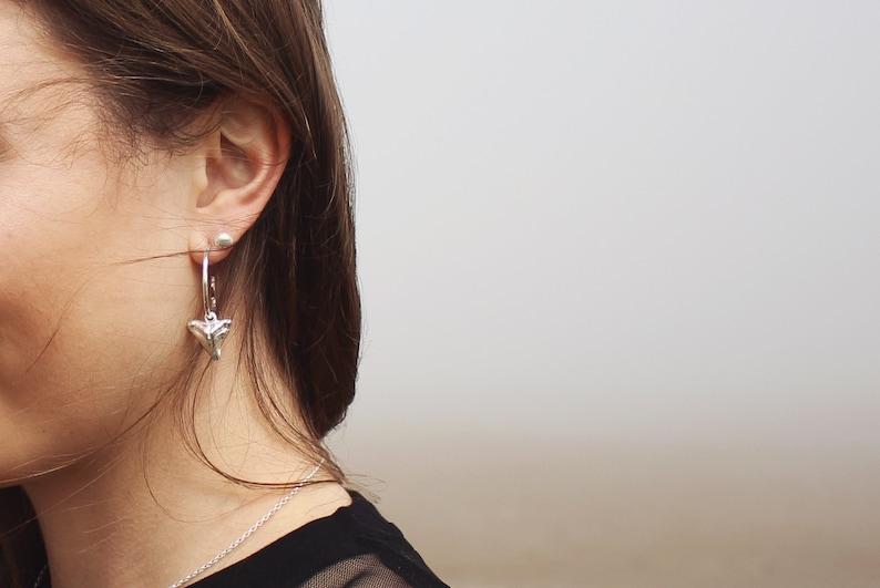 Sterling Silver Fish Hook Hoop Earrings