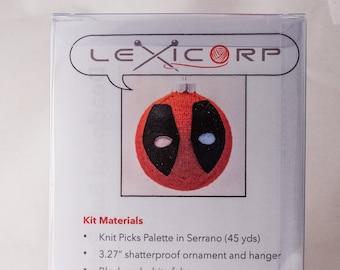 Deadpool Ball Christmas Ornament Knitting Kit