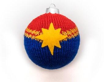 KNITTING KIT: Captain Marvel Ball Christmas Ornament DIY Knitting Kit