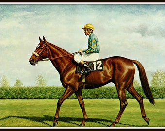 Snow Knight Painted By Richard Stone Reeves Race Horses Thoroughbreds Horse Racing Famous 15 Inches Wide And 12 Tall