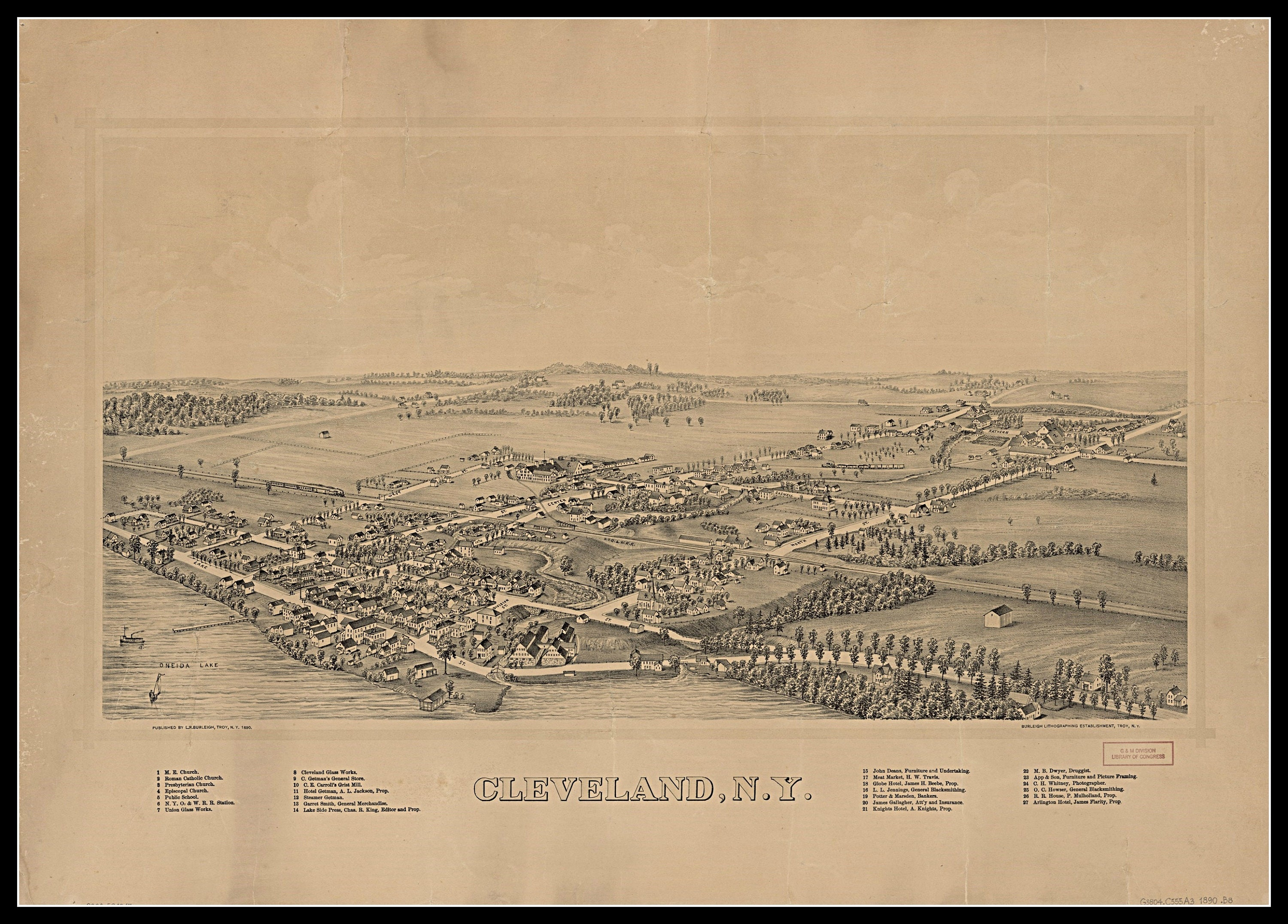 Cleveland NY , Panoramic map, vintage map, vintage map art, vintage map  decor, Old maps, vintage map prints, wall hanging,