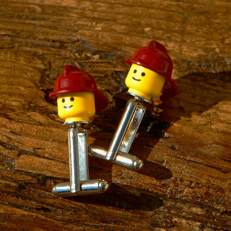 Gift Ideas For Men Red Fireman Cufflinks Handmade
