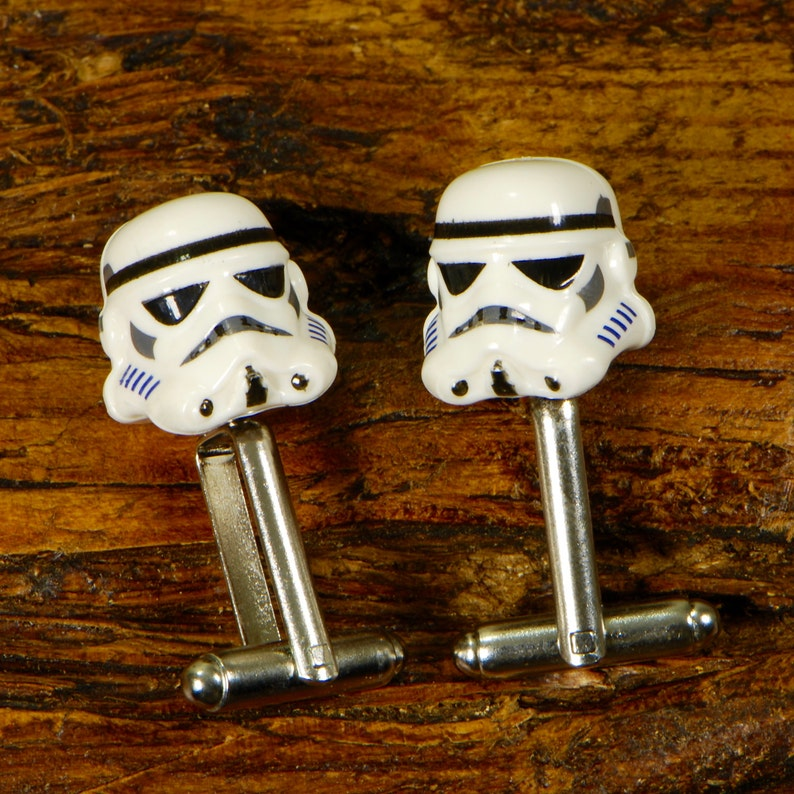 Star Wars Cufflinks Made From Storm Trooper Heads  Mens image 0