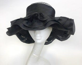 BALENCIAGA authentic vintage 1970s 1980s black silk large brim hat