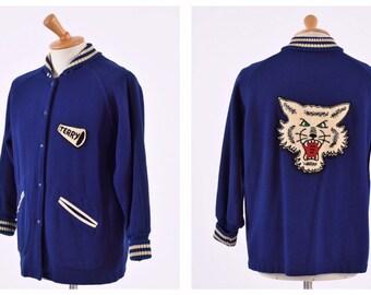 9f1f00335 Vintage 1950s college cheerleader car club letterman varsity long jacket -  size M