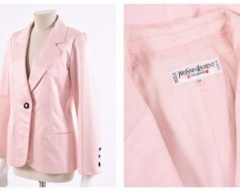 a1e258eb18b YVES SAINT LAURENT vintage 1980s pink satin blazer jacket - size S